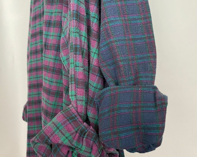 Large and XL vintage flannel shirt, set of 2, teal blue and purple plaid, couples flannels, bridesmaids