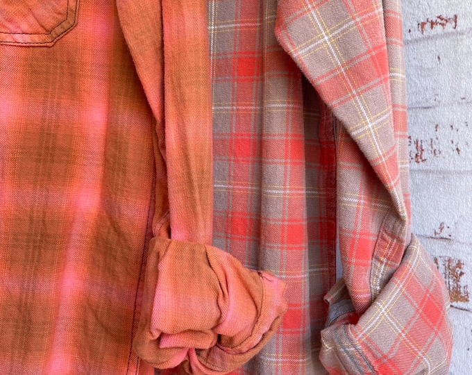 Small and Medium vintage flannel shirt, set of 2, salmon coral beige gray plaid, couples shirts