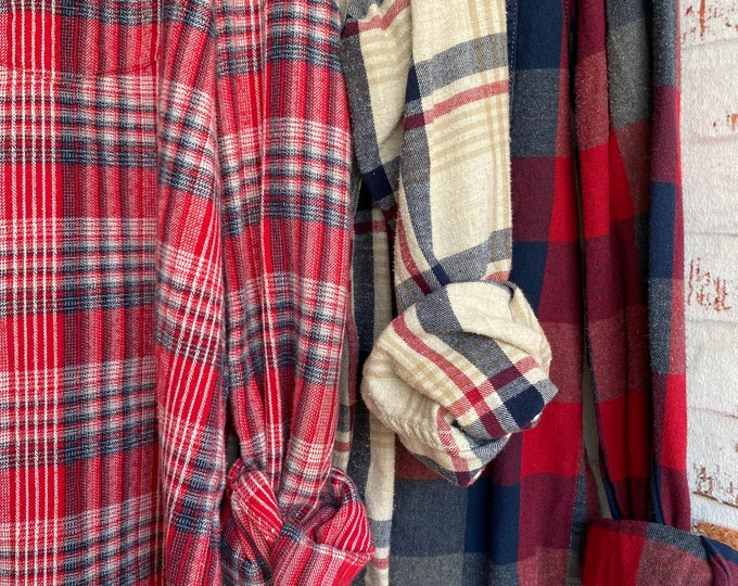 Medium vintage flannel shirts curated as a set of 3 bridesmaid flannels, colors are red navy and white, bride shirt