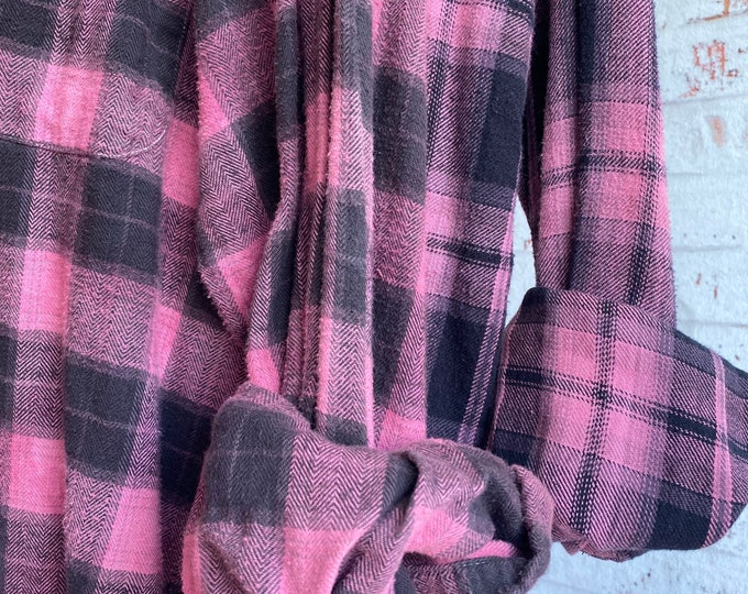 Large vintage flannel shirts, set of 2 pink and black plaid, L, bridesmaid flannels
