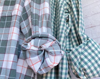 2X vintage flannel shirts curated as a set of 2 mismatched bridesmaid flannels, sage green plaid, XXL