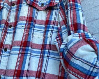 3X vintage flannel shirt, white with red and blue plaid, bride getting ready button down, XXXL