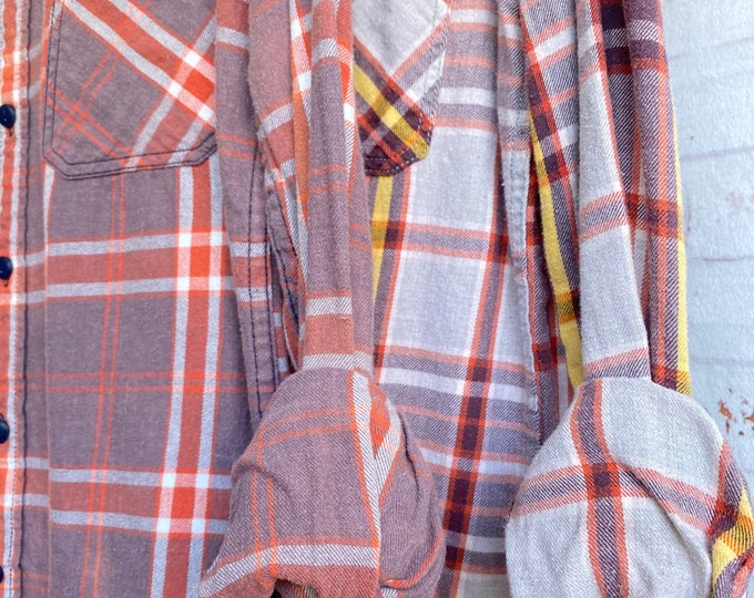 XS/S vintage flannel shirts curated as a set of 2 in pumpkin spice with purple mauve and burnt orange