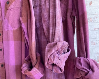 XS vintage mismatched flannel shirts curated as a set of 3, lilac purple plaid, bridesmaid flannels, Xsmall,