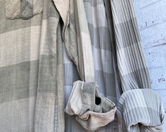 XS vintage flannel shirts curated as a set of 2 , pale sage and nude plaid