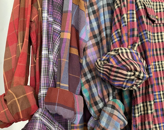 Nightshirt Style vintage flannel shirts curated as a set of 5, colors are purple copper rust turquoise burgundy and blue, long length