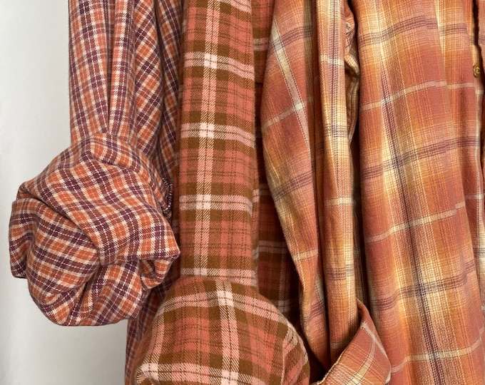 2X vintage flannel shirts curated as a set of 3 in pumpkin spice
