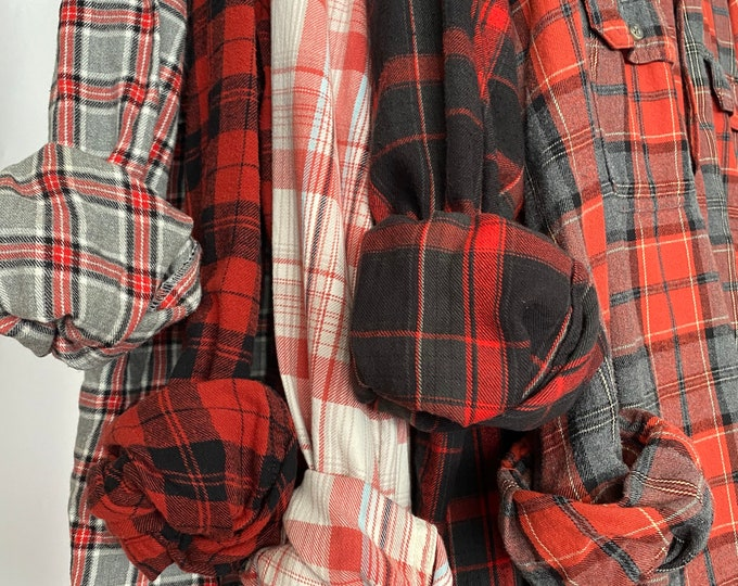 5 bridesmaid flannels curated as a set, colors are rust burnt orange gray and black, sizes include small medium large, vintage flannel
