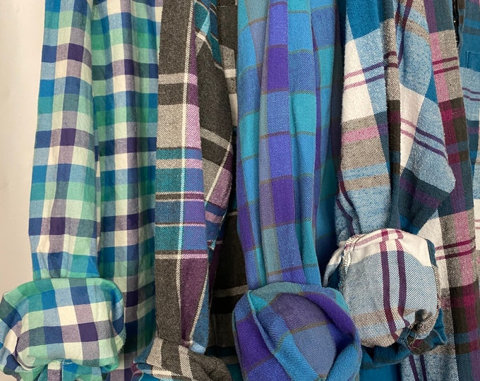 XL vintage flannel shirts curated as a set of 4 in teal, purple, blue, and fuchsia