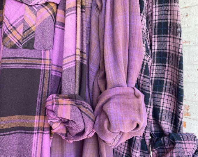 XL vintage flannel shirts, set of 3 boyfriend flannels, purple plaid, extra large, purple bridesmaid flannels
