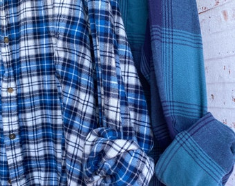 3X TALL vintage flannel shirts curated as a set of 2 blue teal plaid shirt XXXL