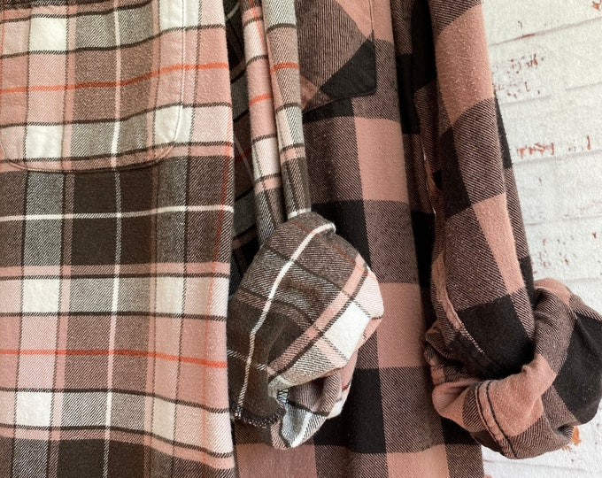 Small vintage flannel shirts, curated as a set of 2 in mauve and black plaid, wedding flannels, bridesmaids shirts