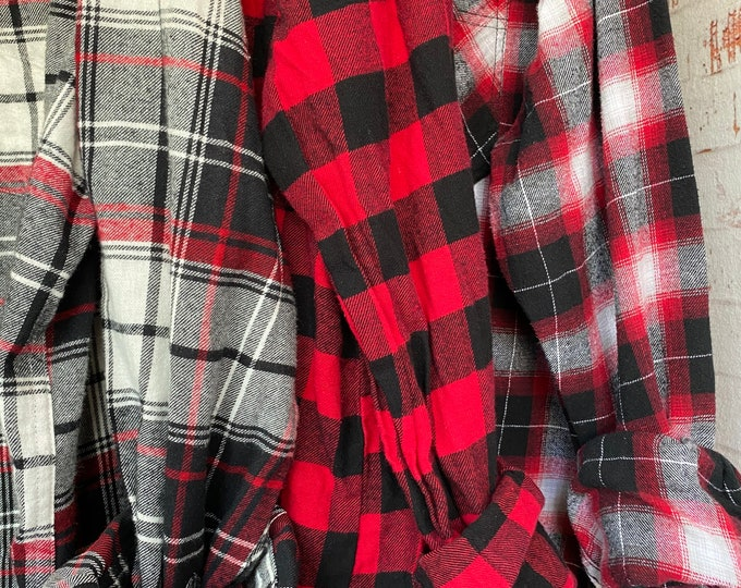 XL vintage flannel shirts curated as a set of 3, red and black plaid, extra large, bridesmaid flannels