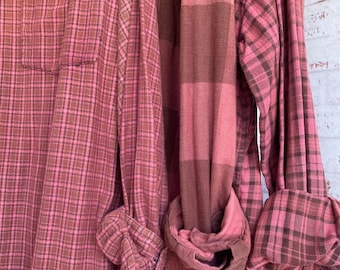 LARGE vintage flannel shirts curated as a set of 3 bridesmaids flannels, colors are dusty rose pink