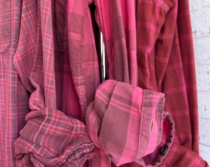 LARGE vintage flannel shirts curated as a set of 3 bridesmaids flannels, colors are fuchsia pink plaids