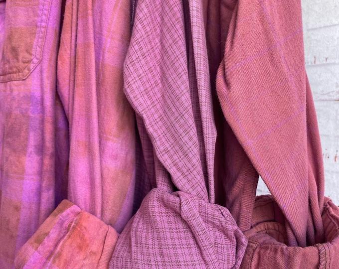 XL vintage flannel shirts, curated set of 3 , Orchid pink purple violet, X large, bridesmaids flannels, Nash Bash