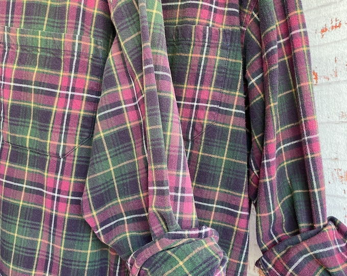 M/L vintage flannel shirts curated as a set of 2,  pink green and purple plaid, medium large, matching flannels