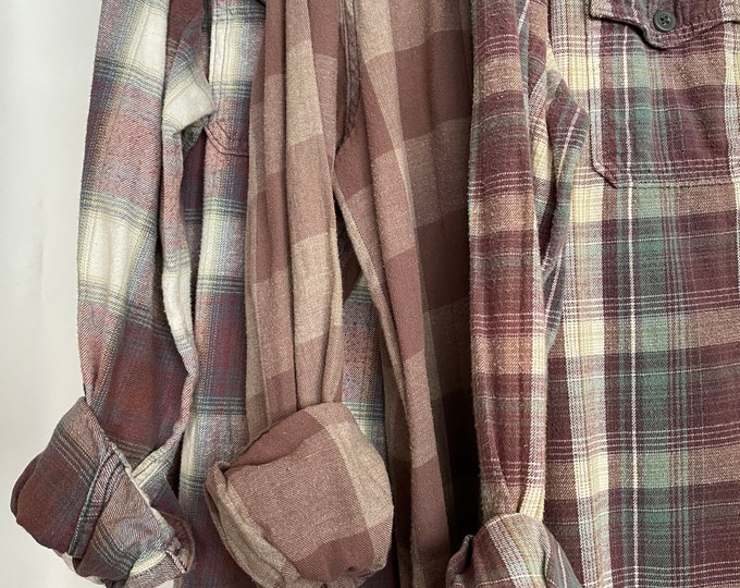 LARGE vintage flannel shirts curated as a set of 3 in purple mauve and jade plaid