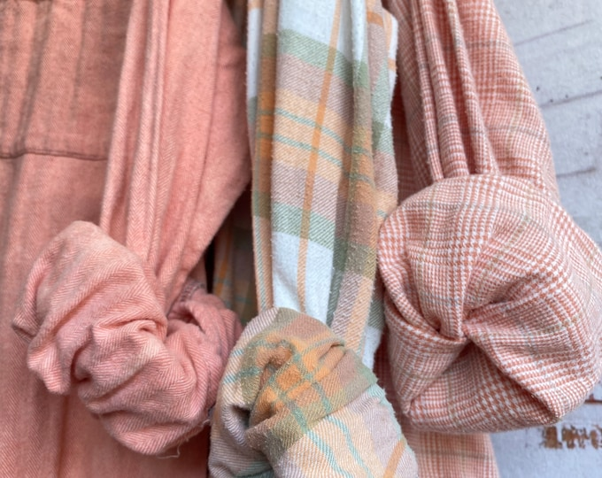 2X vintage flannel shirts curated as a set of 3 in pumpkin spice color palette, peach sage and mauve, XXL