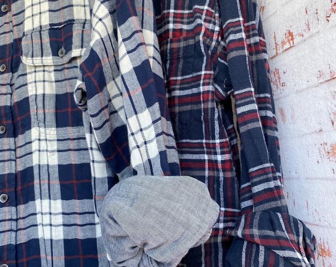Large vintage flannel shirts, set of 2 navy blue plaid, L, bridesmaid flannels, couples shirts