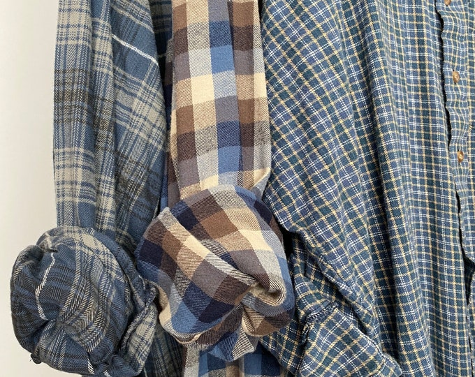 2X vintage flannel shirts curated as a set of 3 in dove blue