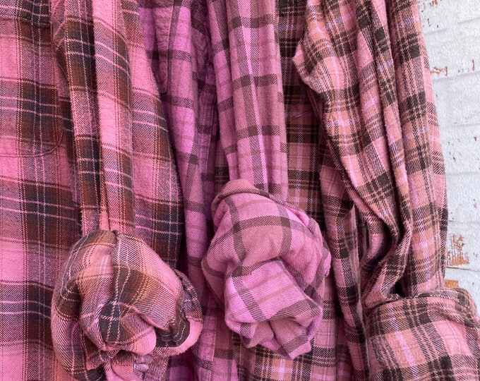 LARGE vintage flannel shirts curated as a set of 3 bridesmaids flannels, colors are pink with brown plaid