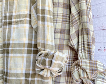 set of 2 flannel shirts, vintage flannels, color is pale honeydew, size medium and XL tall, bridesmaid robes