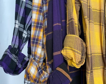 XS/S vintage mismatched flannel shirts curated as a set of 4, colors are purple and gold plaid, bridesmaid flannels, small Xsmall,