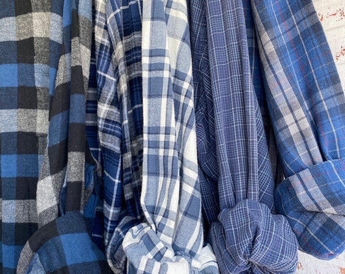 2X vintage flannel shirts curated as a set of 5 in blue and gray, includes white bride shirt