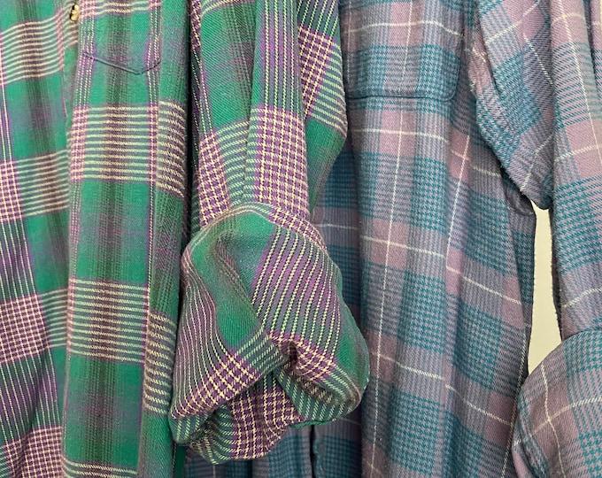 2 Large flannel shirts, set of mismatched flannels, lavender green and blue, L , RARE vintage plaid