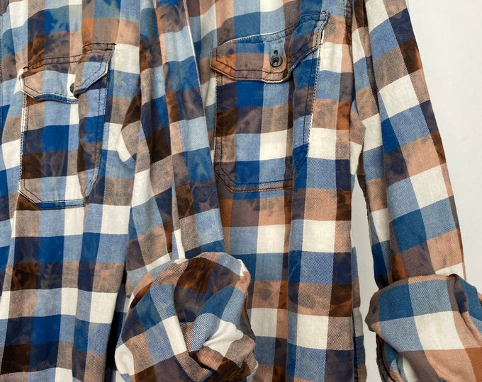 2 medium flannel shirts, set of bleach distressed blue and brown checked plaid flannels, matching