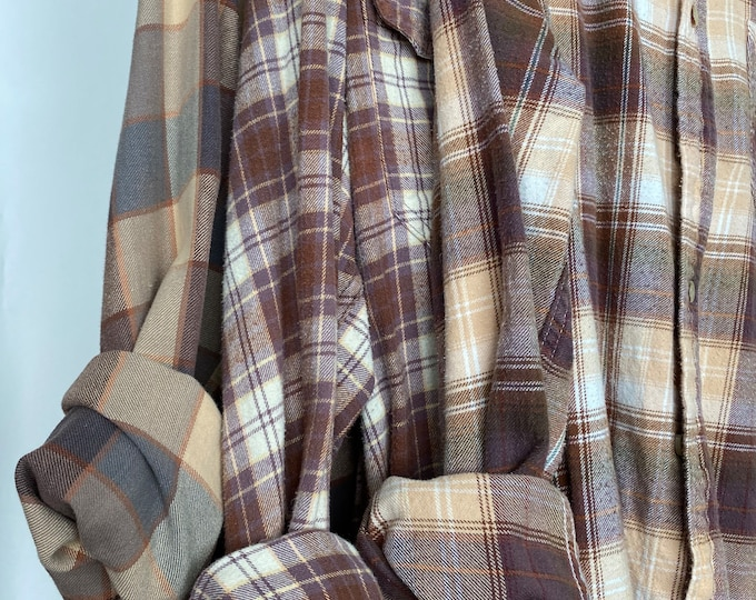 XL vintage flannel shirts curated as a set of 3, mauve plum and gold plaid, bridesmaids flannels