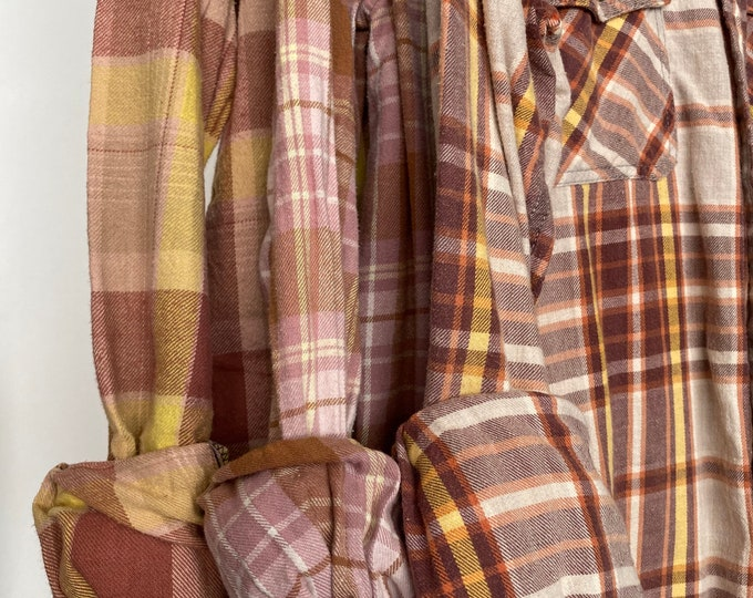 Small vintage flannel shirts curated as a set of 3 in mauve and yellow plaid