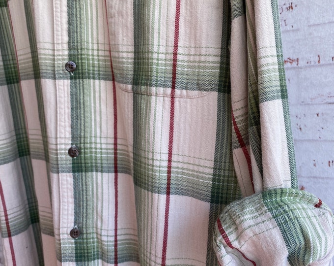 Medium vintage flannel shirt, white with green and red plaid, bride flannels, MED