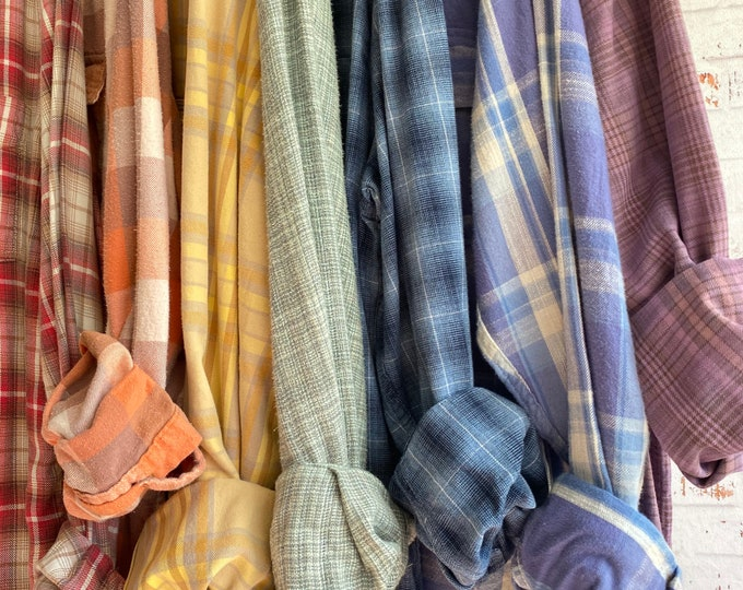 M/L vintage flannel shirts curated as a set of 7 in the chakra colors