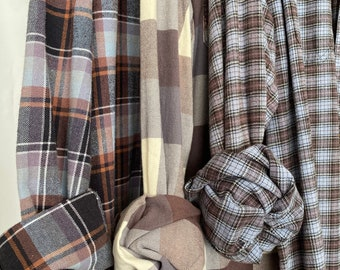 L/XL vintage flannel shirts curated as a set of 3, mauve and dove blue, large Xlarge, bridesmaid flannels