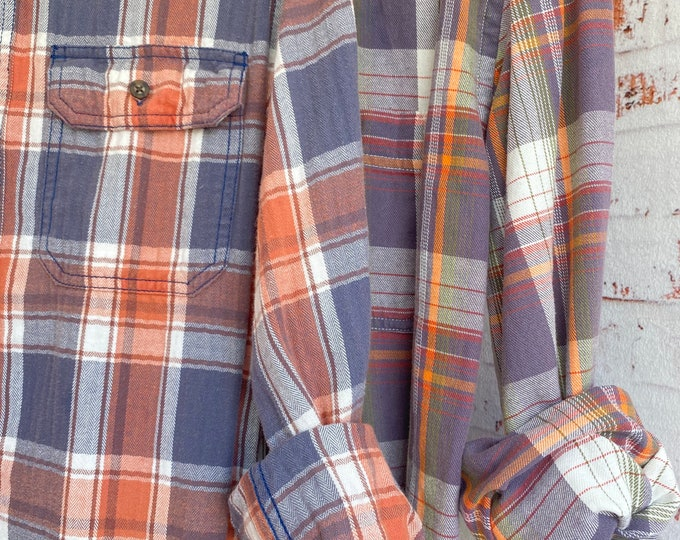 Small and Large vintage flannel shirt, set of 2, purple and orange plaid, couples shirts, bridesmaids flannels