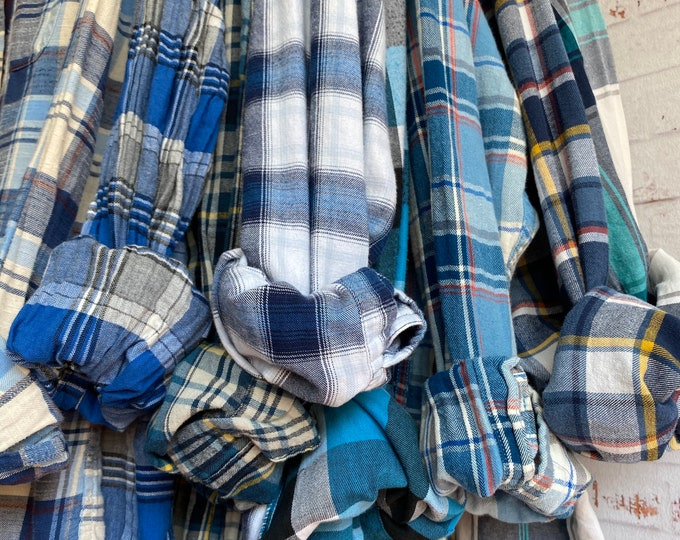 blue flannel shirts curated as a set of 8, thin lightweight fabric, various sizes, mostly white bride shirt, small, medium, large, XL, XXL