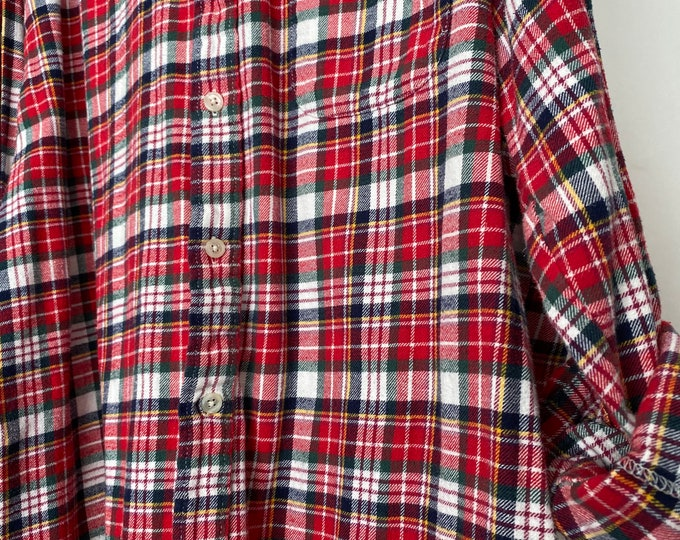 Large vintage flannel shirt, holiday red plaid, L LG
