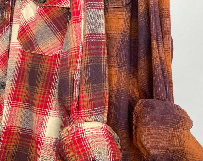 2X vintage flannel shirts curated as a set of 2, color is pumpkin spice plum and red burgundy, bridesmaid flannels, wedding robe