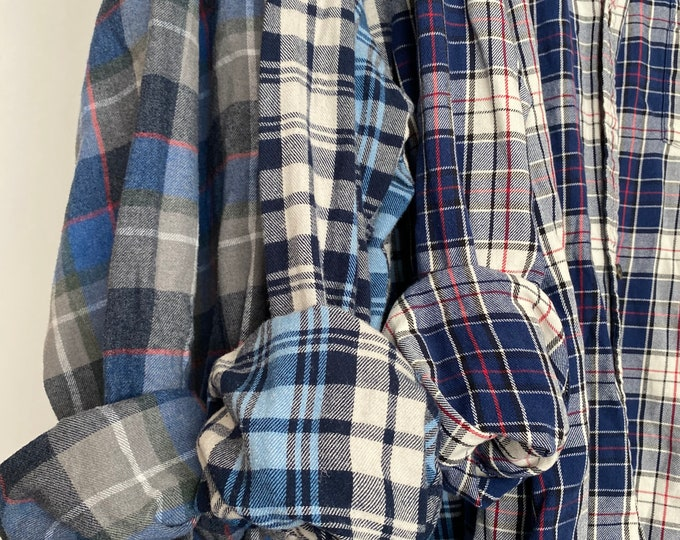 2X vintage flannel shirts curated as a set of 3 in blue and gray