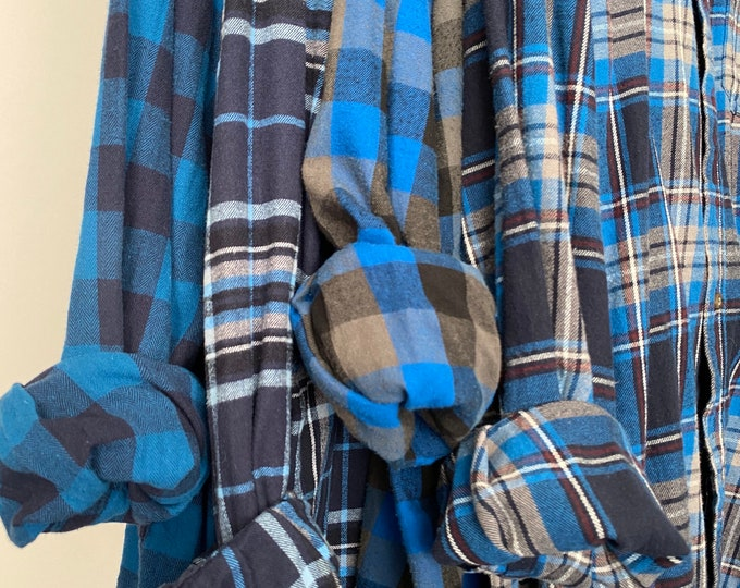 L/XL vintage flannel shirts curated as a set of 4 in royal blue, navy, black and gray