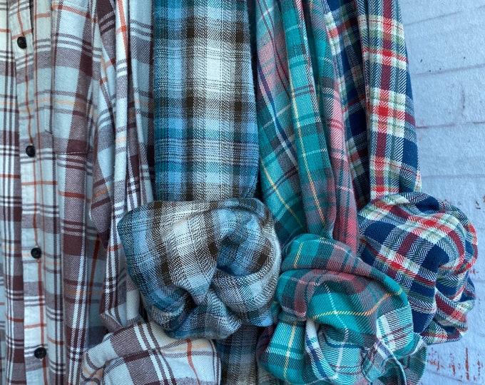 L/XL Nightshirt Style vintage flannel shirts curated as a set of 4, bridesmaid flannels, bridesmaid robes, flannel robe