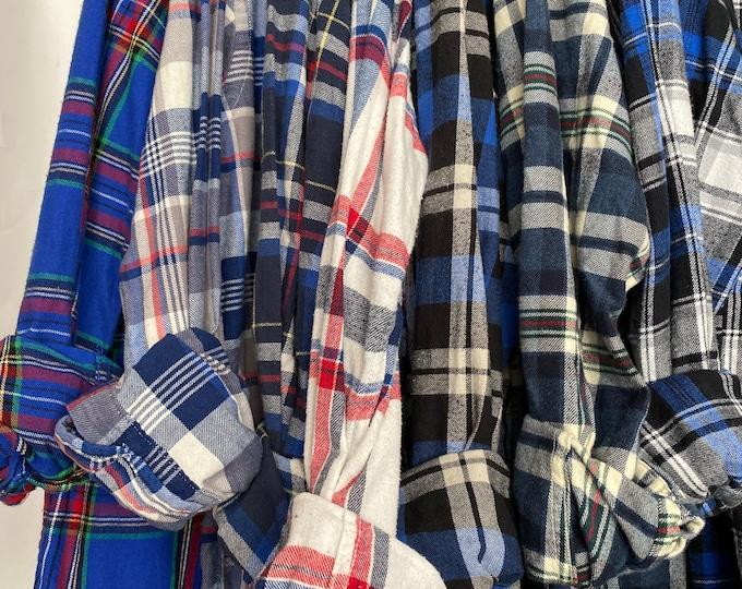 Medium vintage flannel shirts, set of 7 bridesmaid flannels, colors blue plaids with white for bride