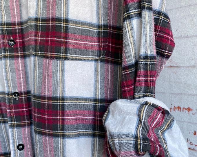 M/L vintage flannel shirt, white with fuchsia pink plaid, bride flannels, medium large