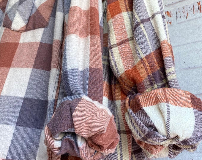 XS and Medium vintage flannel shirt, set of 2, burnt orange and mulberry plaid, couples shirts