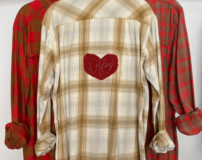 M/L vintage flannel shirts curated as a set of 3, bridal party, colors coral red and tan gold plaid, medium large, wifey