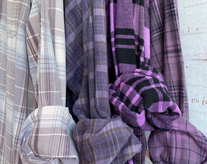 XL mismatched vintage flannel shirts curated as a set of 4 in shades of purple, extra large