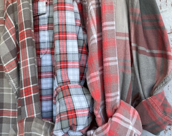 L/XL vintage flannel shirts curated as a set of 4,  colors are coral and gray plaid, bridesmaid flannels, large Xlarge