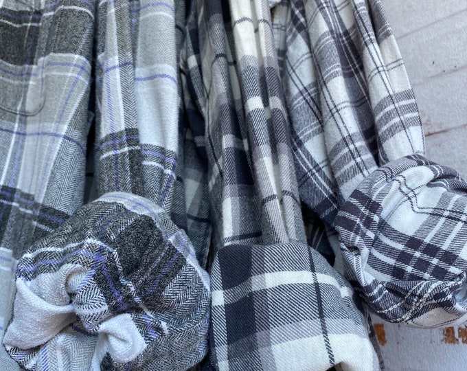 set of 3 gray flannels, mixed sizes include LARGE XL and 2X,  mismatched bridesmaid, bridesmaids flannel shirts